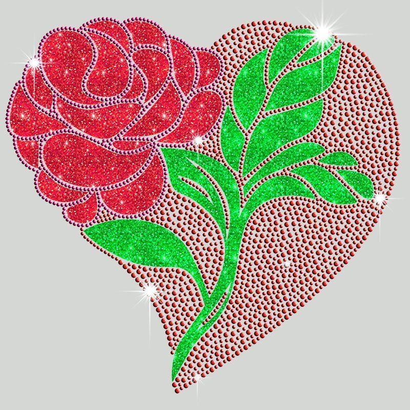 Custom design valentine's day iron on rhinestone heat transfer motif for clothing
