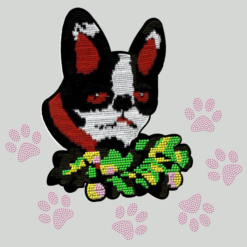 Custom applique heat transfer dog pattern embroidery patch with rhinestones for t-shirt