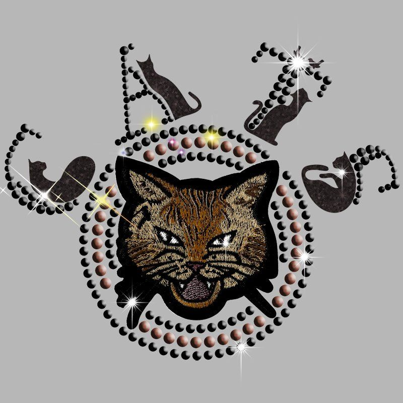 Custom rhinestones heat transfer cat pattern iron on embroidery patch with rhinestuds for t-shirt