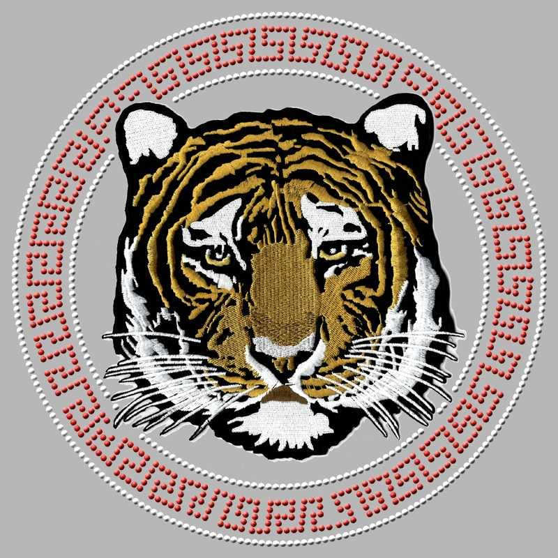 Custom iron on tiger embroidery patch with rhinestones heat transfer for clothes