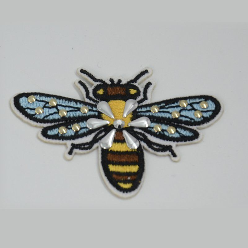 Custom iron on applique bee pattern design embroidery patch with nailheads for clothes