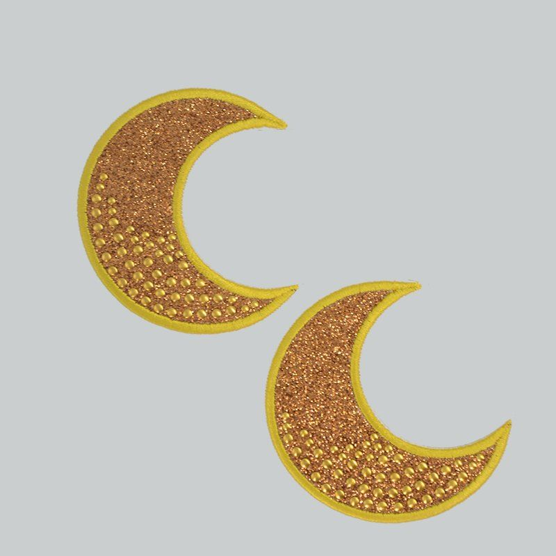 Custom iron on badges glitter moon design nail bead embroidery patch for clothing