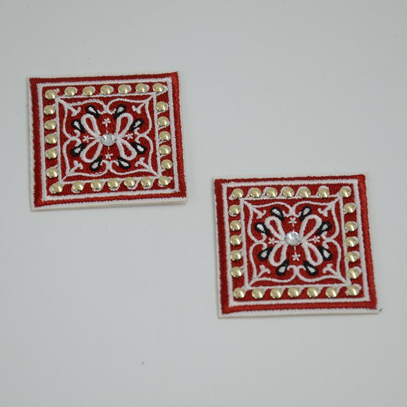 Custom t shirt nail beads heat transfer square shapes embroidery patch for garments