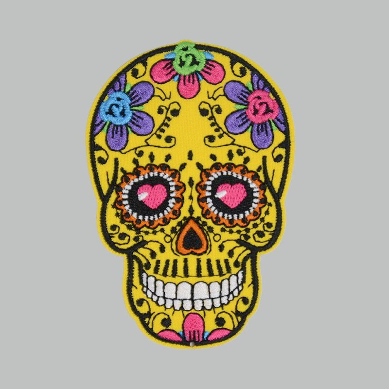 Custom sew on applique skull design embroidered patches for garments