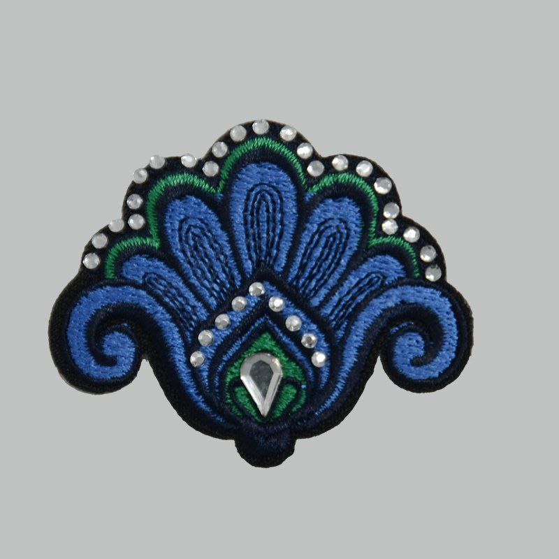 Custom iron on ink-blue color flower embroidered patches with rhinestones applique for clothing