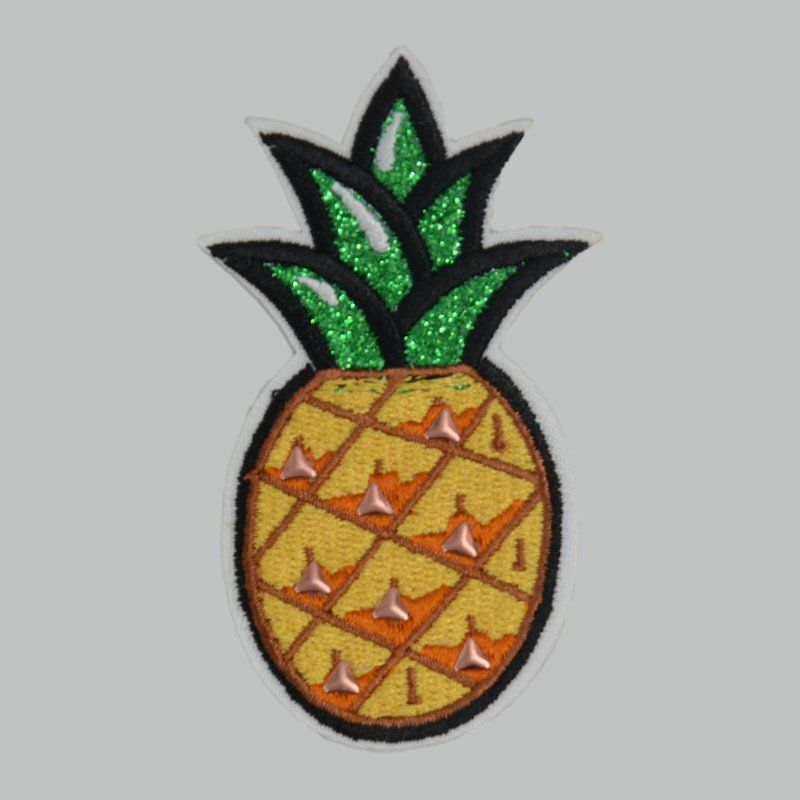 Custom sew on applique pineapple design nail bead embroidered patches for jacket