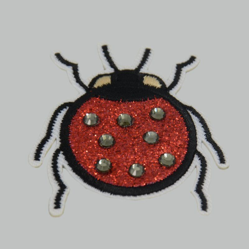Custom t shirt applique sew on nail bead embroidered patch for clothing