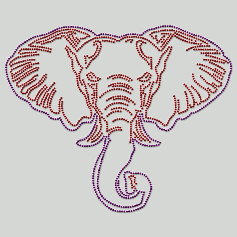 Custom iron on rhinestone heat transfer elephant design hot fix motif for t shirt