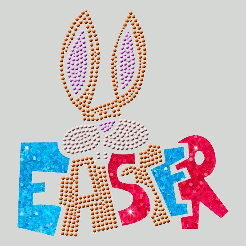 Wholesale custom hot fix heat transfer rabbit design rhinestone motif for t-shirts