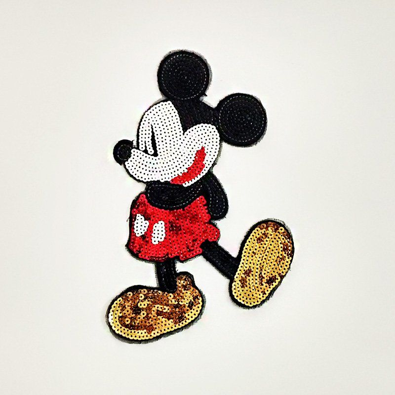 Custom wholesale badges mickey design sequins patch sew on embroidery for clothes