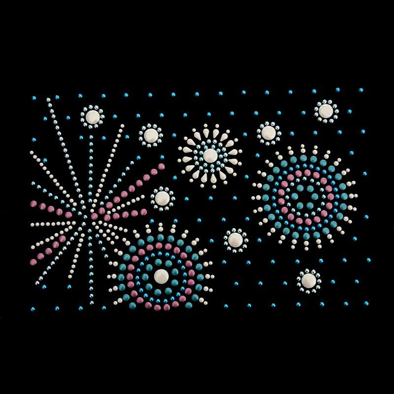 Custom clothing rhinestones heat transfer fireworks design hot fix motif