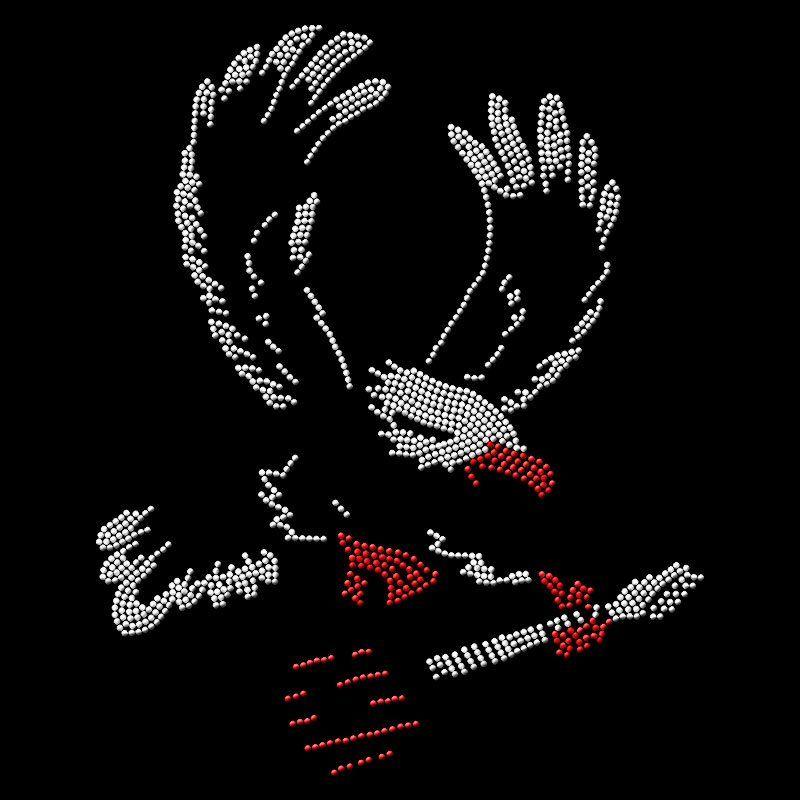 Custom hot fix heat transfer eagle design bling rhinestone motif for t shirt