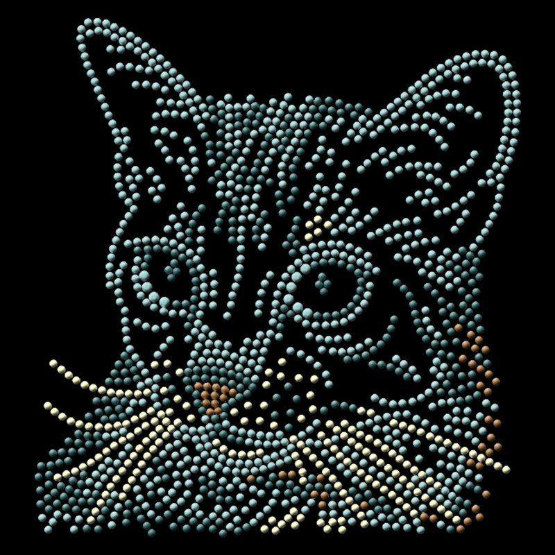 Custom heat press design cat pattern rhinestone heat transfer for clothes