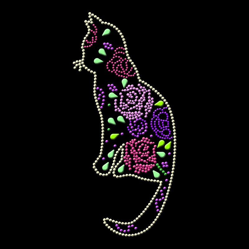 Custom cat patterns heat press design hot fix rhinestone transfer for clothing