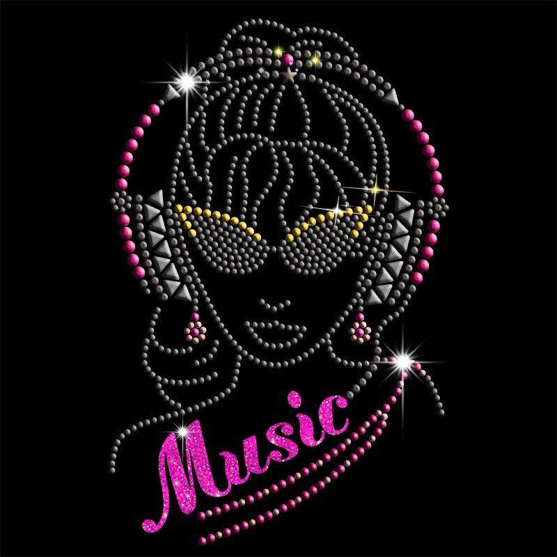 Custom hot fix women music design iron on rhinestones transfers for t shirts
