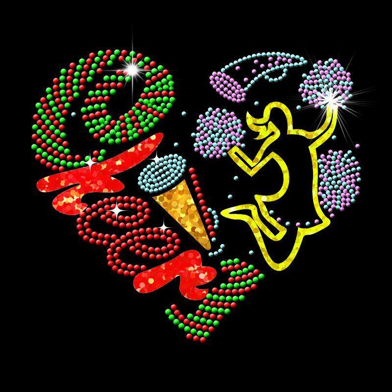 Custom hot fix dance heart design rhinestones transfer motif for t shirt