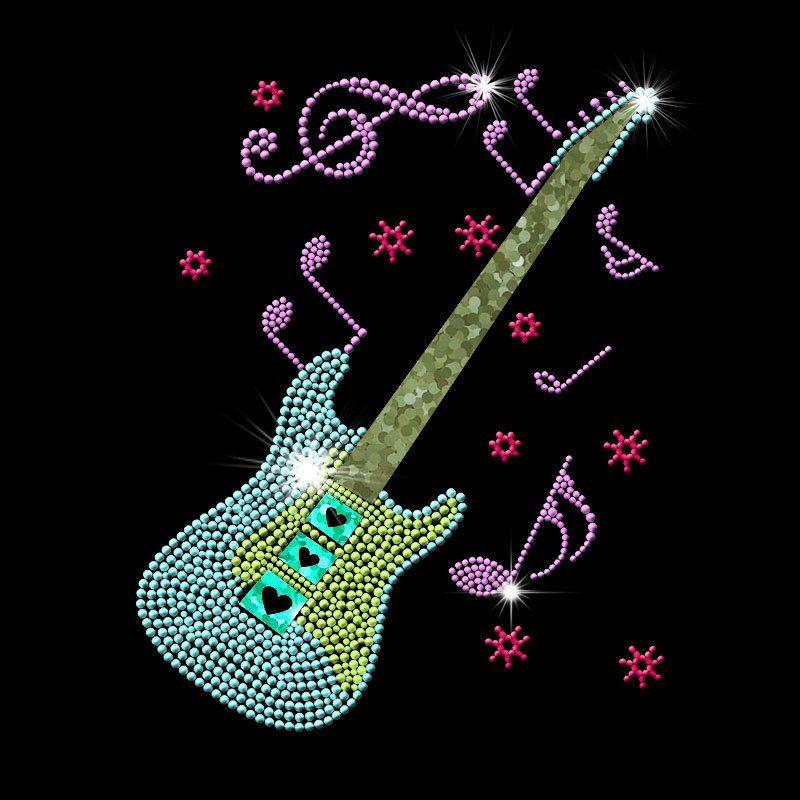 Latest hot fix guitar musical instrument rhinestones transfer motif iron on clothing