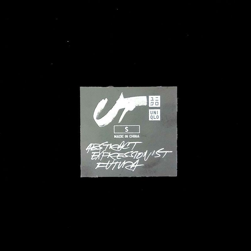Custom brand name design UNIQLO  white iron on heat transfer label for t-shirt