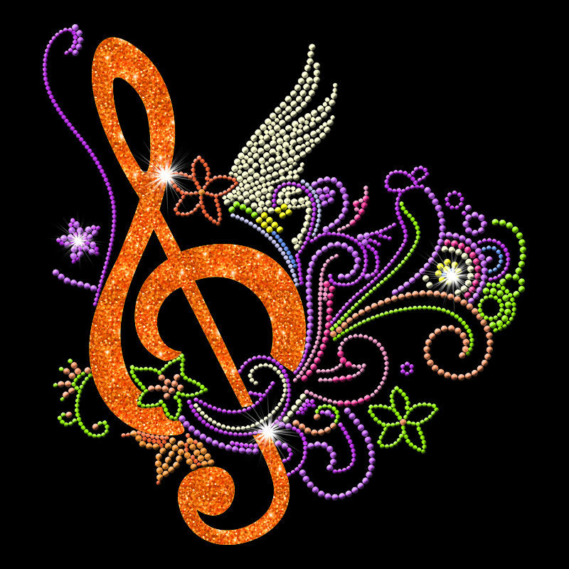 Custom music designs glitter crystal rhinestone heat transfers wholesale
