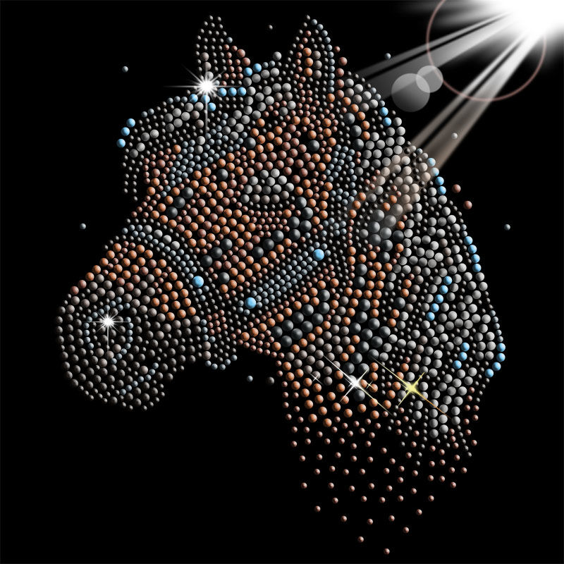 Custom animal horse designs crystal rhinestones iron on heat transfers wholesale