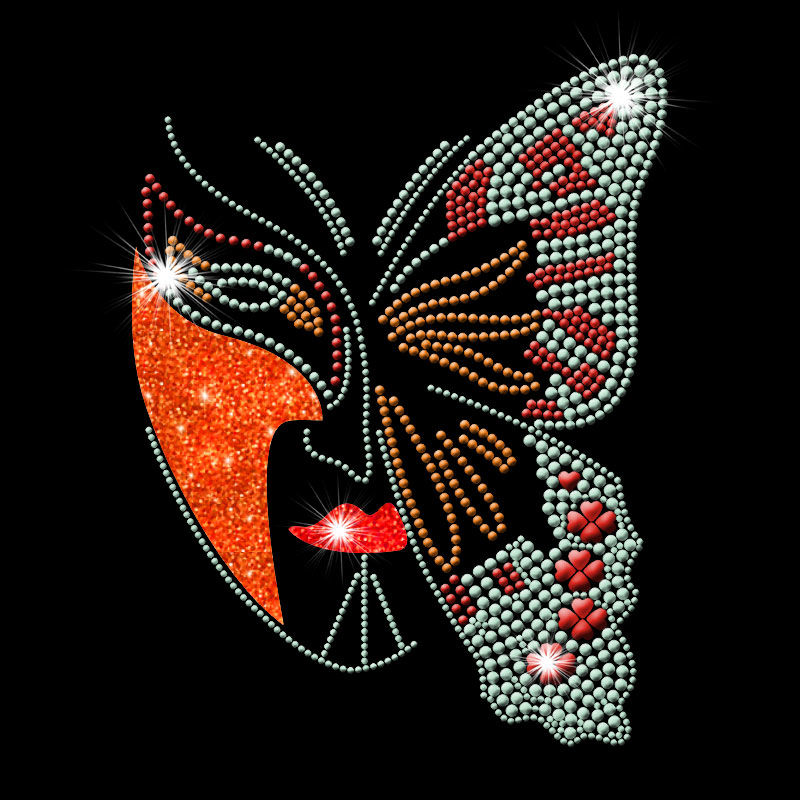 Custom butterfly mask glitter hot fix rhinestones heat transfers wholesale