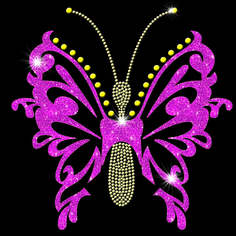 Custom heat press butterfly design glitter cloth rhinestones heat transfers wholesale