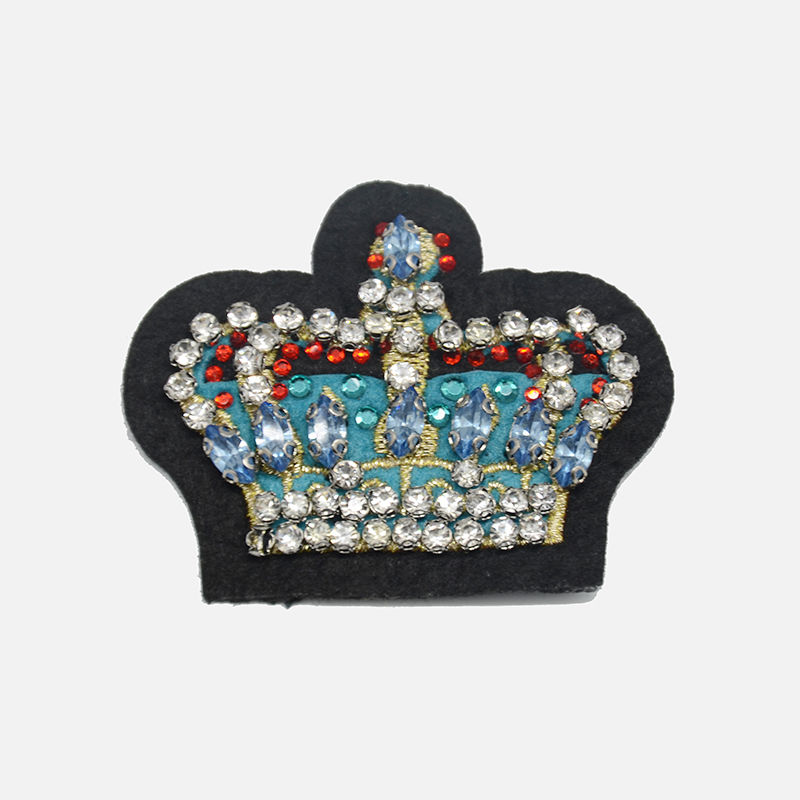 Wholesale custom applique imperial crown rhinestone flock embroidery bead patch designs