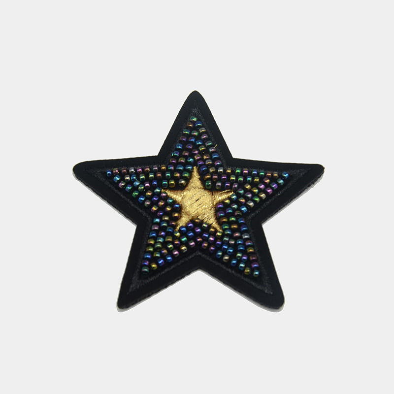 Custom badges star nail beads machine embroidery patch patterns designs wholesale
