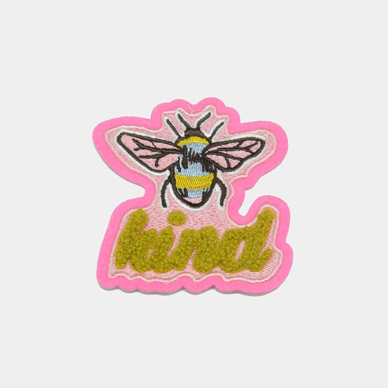 Custom applique honeybee towel embroidery patch designs wholesale