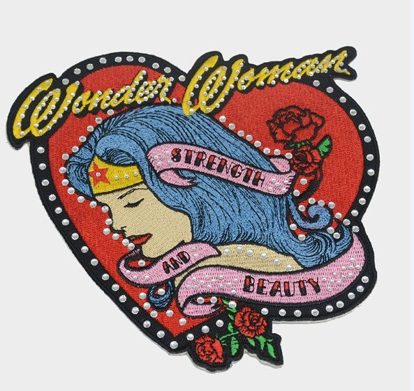 Custom heart letter women flower rhinestone embroidery patch applique designs