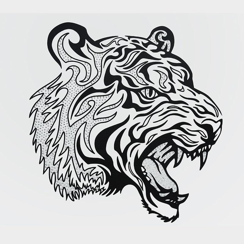 Custom design animal tiger rhinestone iron on heat transfer vinyl printing for clothing