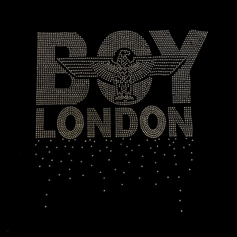 Custom letter boy eagle pattern gold rhinestuds heat transfer for t shirt