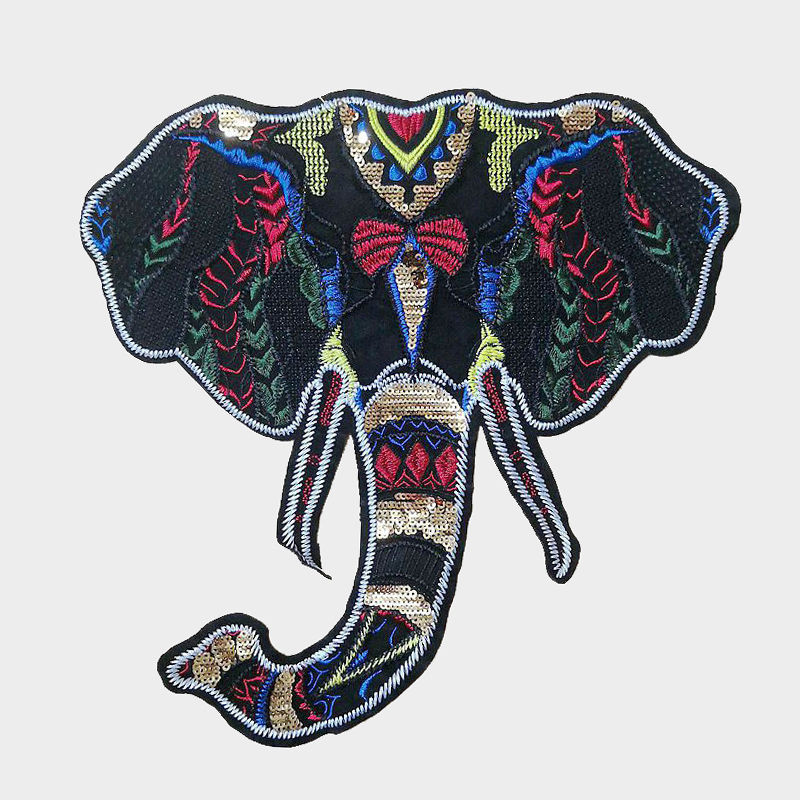 Custom Clothing Embroidery Decoration Design DIY Animal Multi-Color  Elephant Pattern Sequin Embroidered Patch for Sale