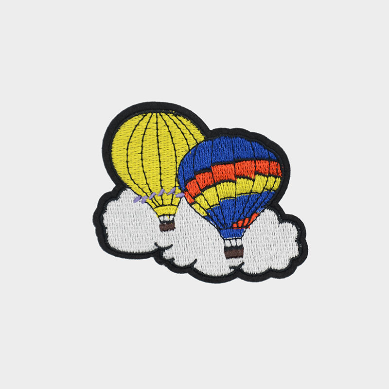 Cheap custom t-shirt patches designs fire balloon pattern machine embroidery on clothing