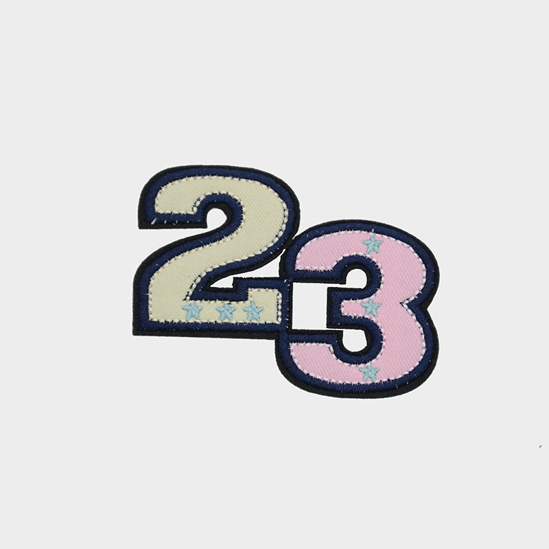 Wholesale custom badge designs the number 23 pattern  embroidery patch for hats