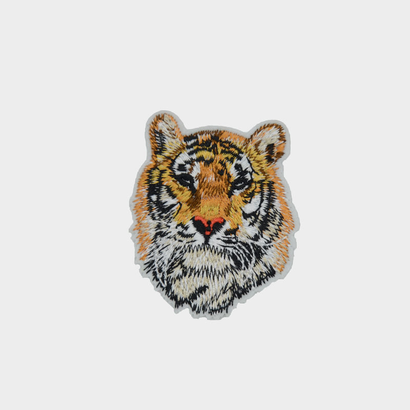 Custom clothing decoration design diy badge animal tiger pattern embroidered patch for jacket