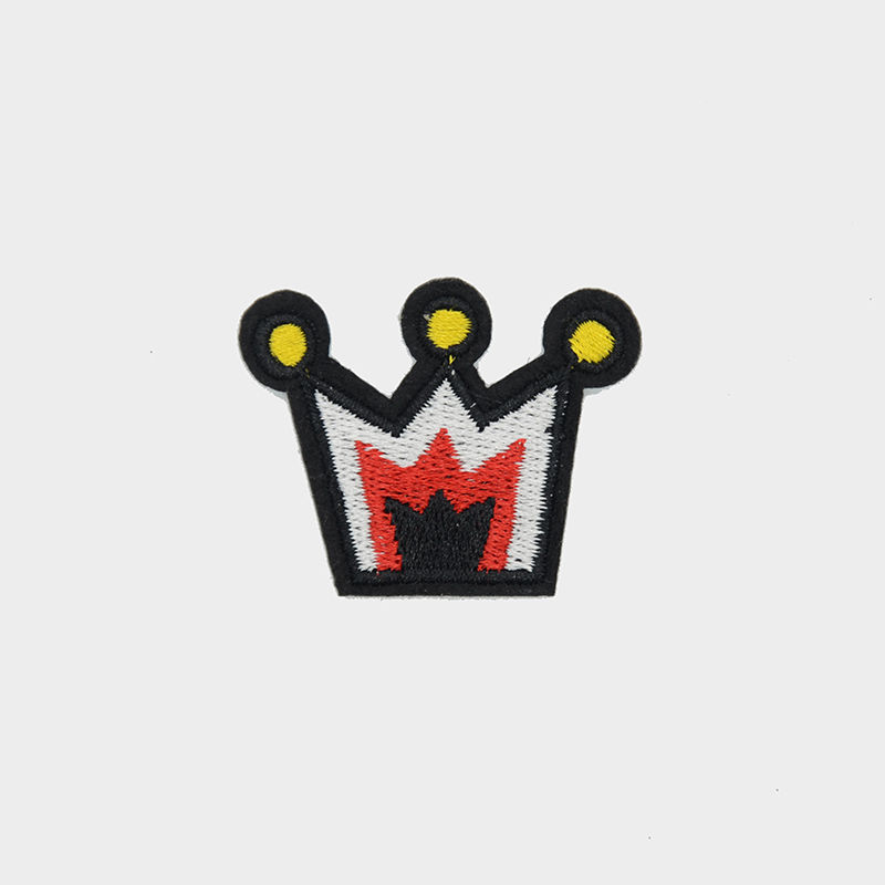 T shirt logo badge custom design imperial crown pattern woven embroidery patch iron on cloth
