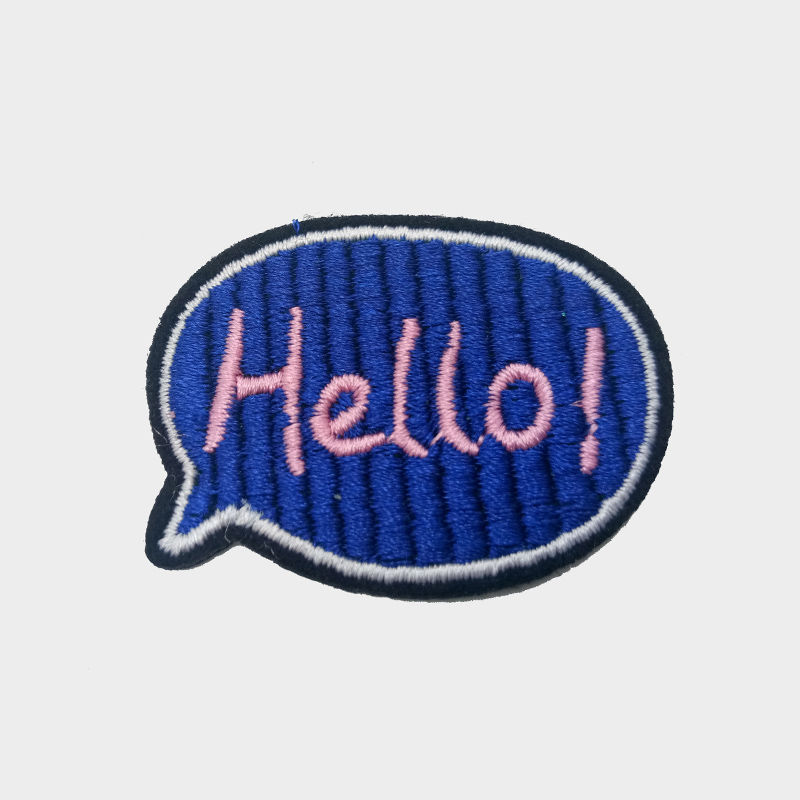Custom iron on embroider letters t shirt hello dialog box pattern embroidery patch for clothing