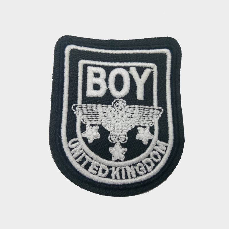 Custom clothing design shield boy letter eagle star badge embroidery iron on patches for shirts