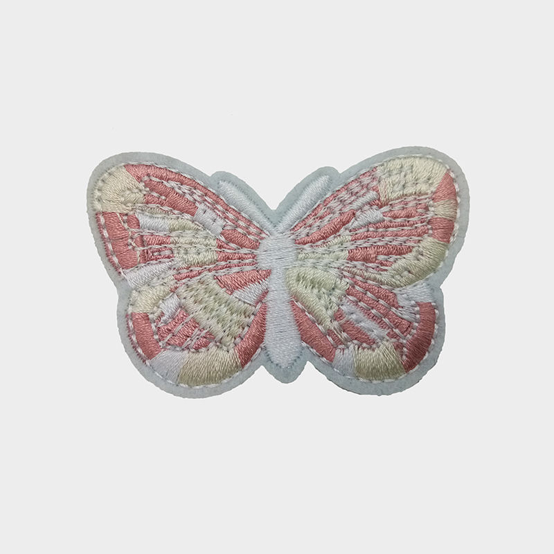 Custom clothing machine embroidery design insect butterfly pattern  iron on patches for hats