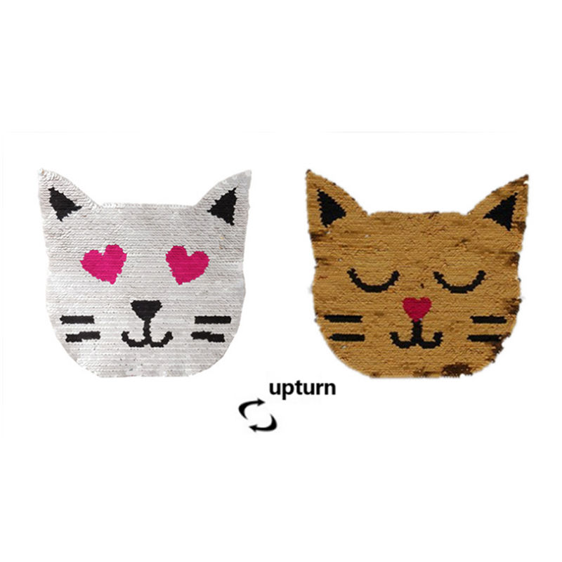 Custom t-shirt designs animal cat head pattern sew on double-sided flip color reversible sequin bead embroidery patch for cloth