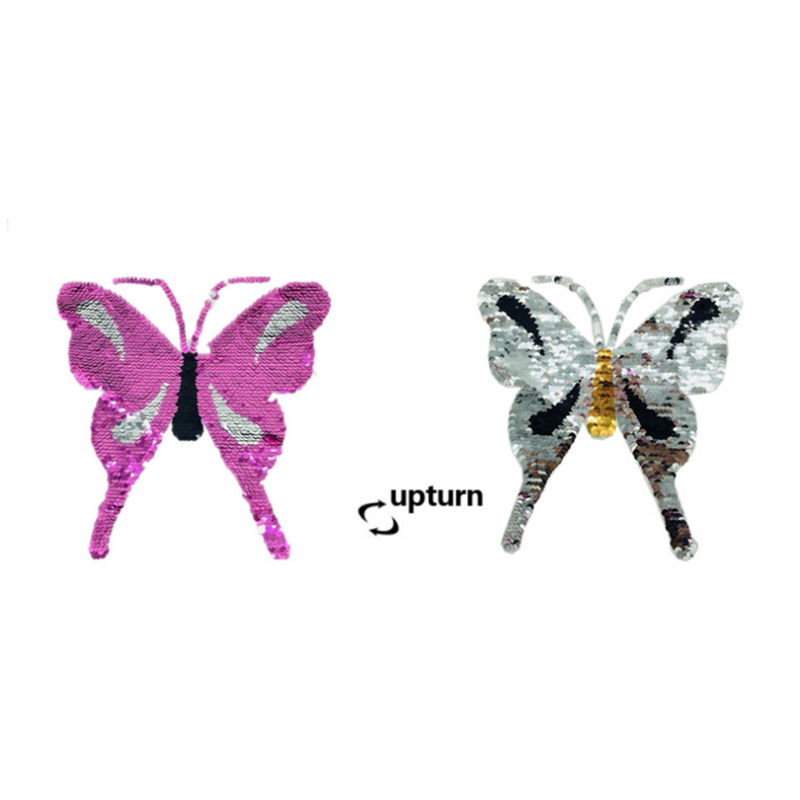 Custom sew on t shirt sequin patch Insect Butterfly pattern reversible bead embroidery for clothing