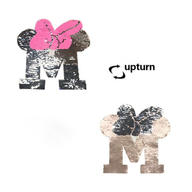 Custom clothing ornament design letter M flip double-sided color pattern reversible sequin bead embroidery  patches for t shirt