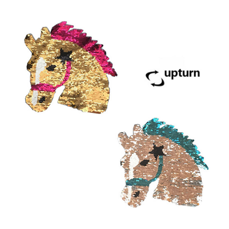 Custom factory directly sale two sides reversible sequin embroidery designs animal horse head pattern bead patches on clothing
