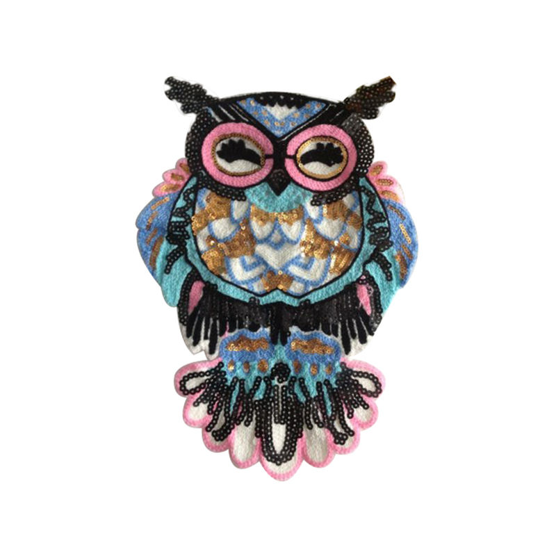 Custom t-shirt sew on patch designs colorful animal owl pattern sequin bead embroidery