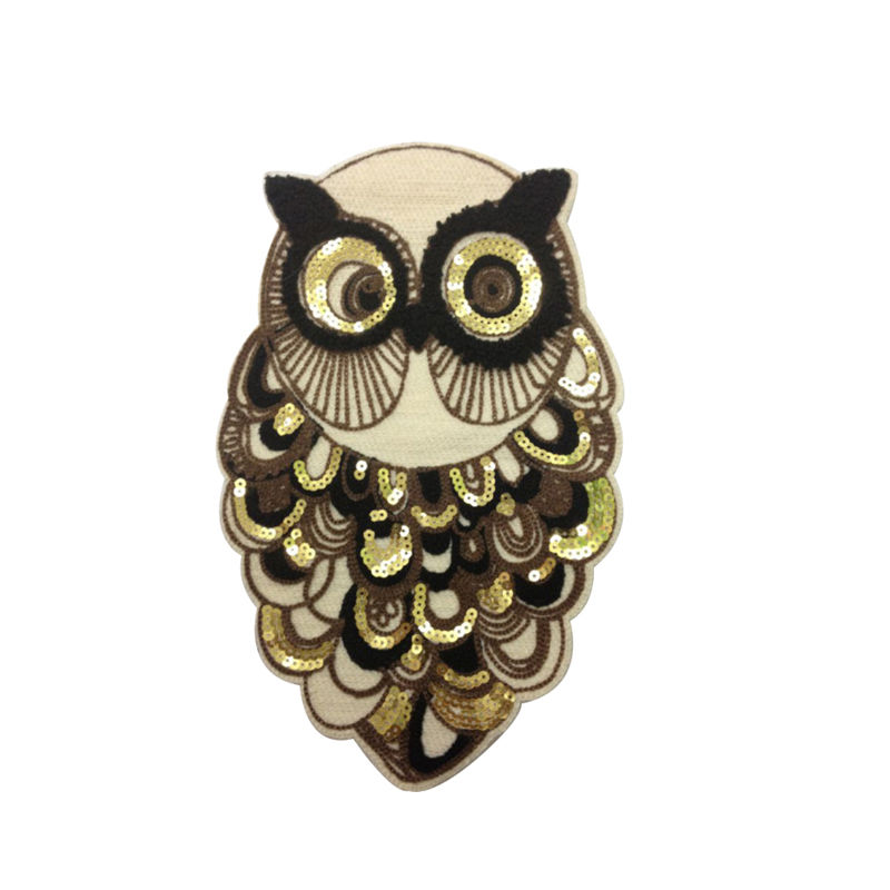 Wholesale custom patch designs animal owl pattern woven applique sequin bead embroidery  for t shirt