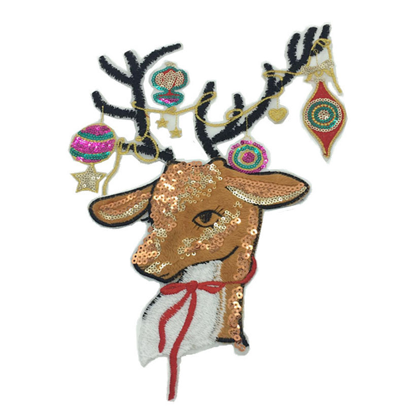 Custom cloth design pattern animal deer sequin bead towel embroidery iron on patches