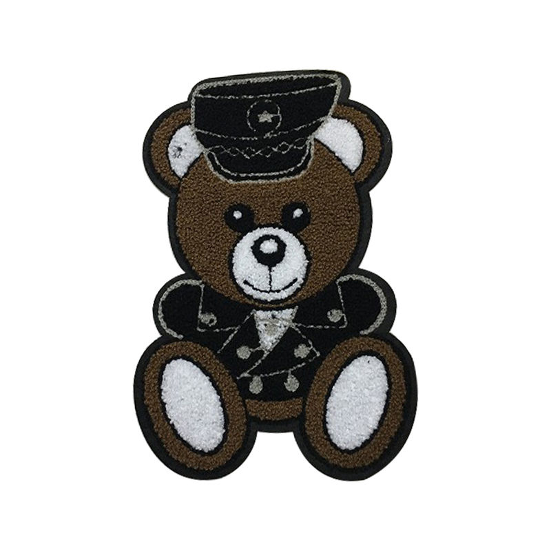 T shirt custom clothing diy design cartoon bear pattern  iron on towel 3d embroidery patch for t shirt
