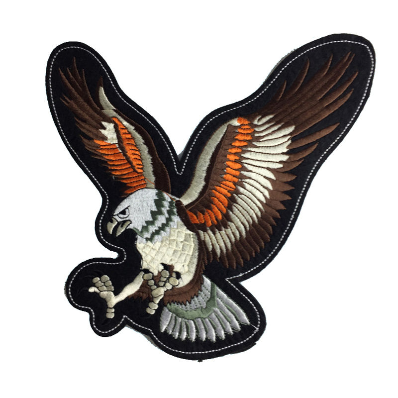 Custom t shirt iron on patches animal eagle design flock cloth embroidery for clothing