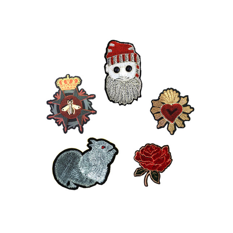 Factory directly sale custom patches animal flowers plants pattern designs  flock cloth embroidery on clothing